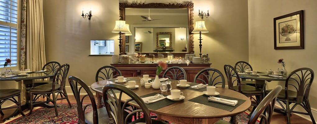 Our dining room at Underberg House, where many a delightful meal is served
